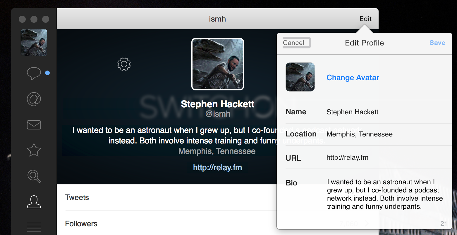 Editing your profile in Tweetbot