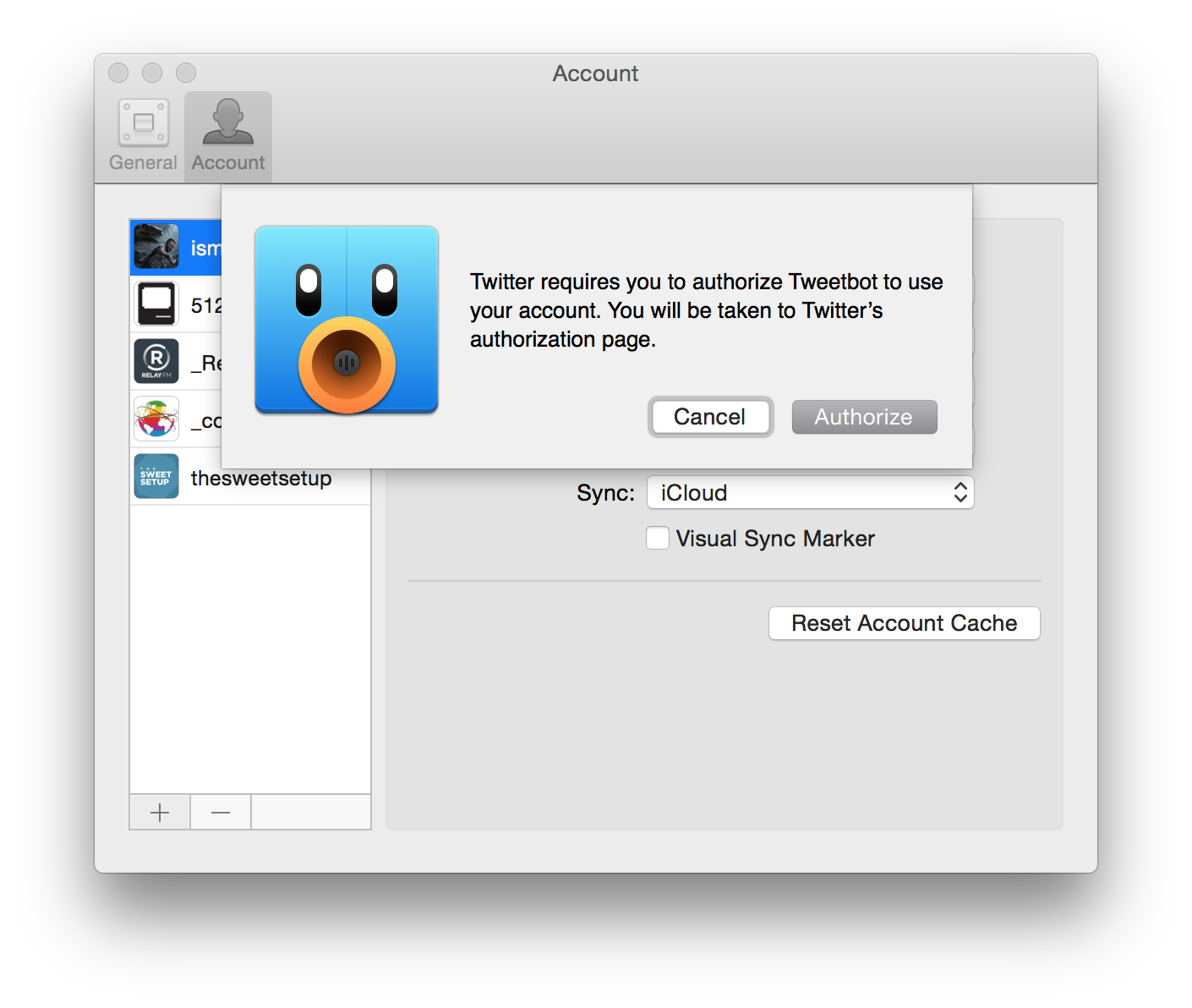 Account setup in Tweetbot 2 for Mac