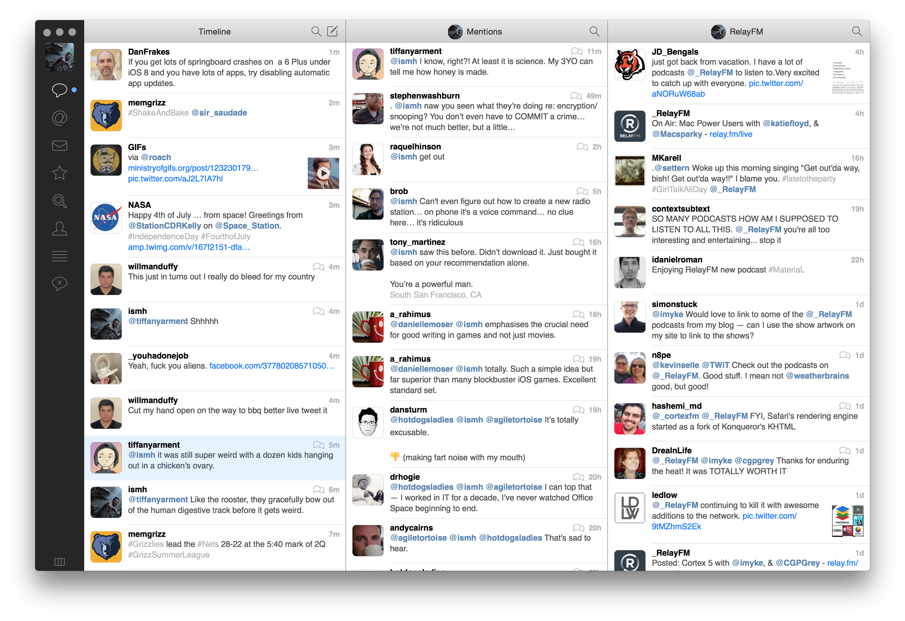 Multiple columns within Tweetbot2