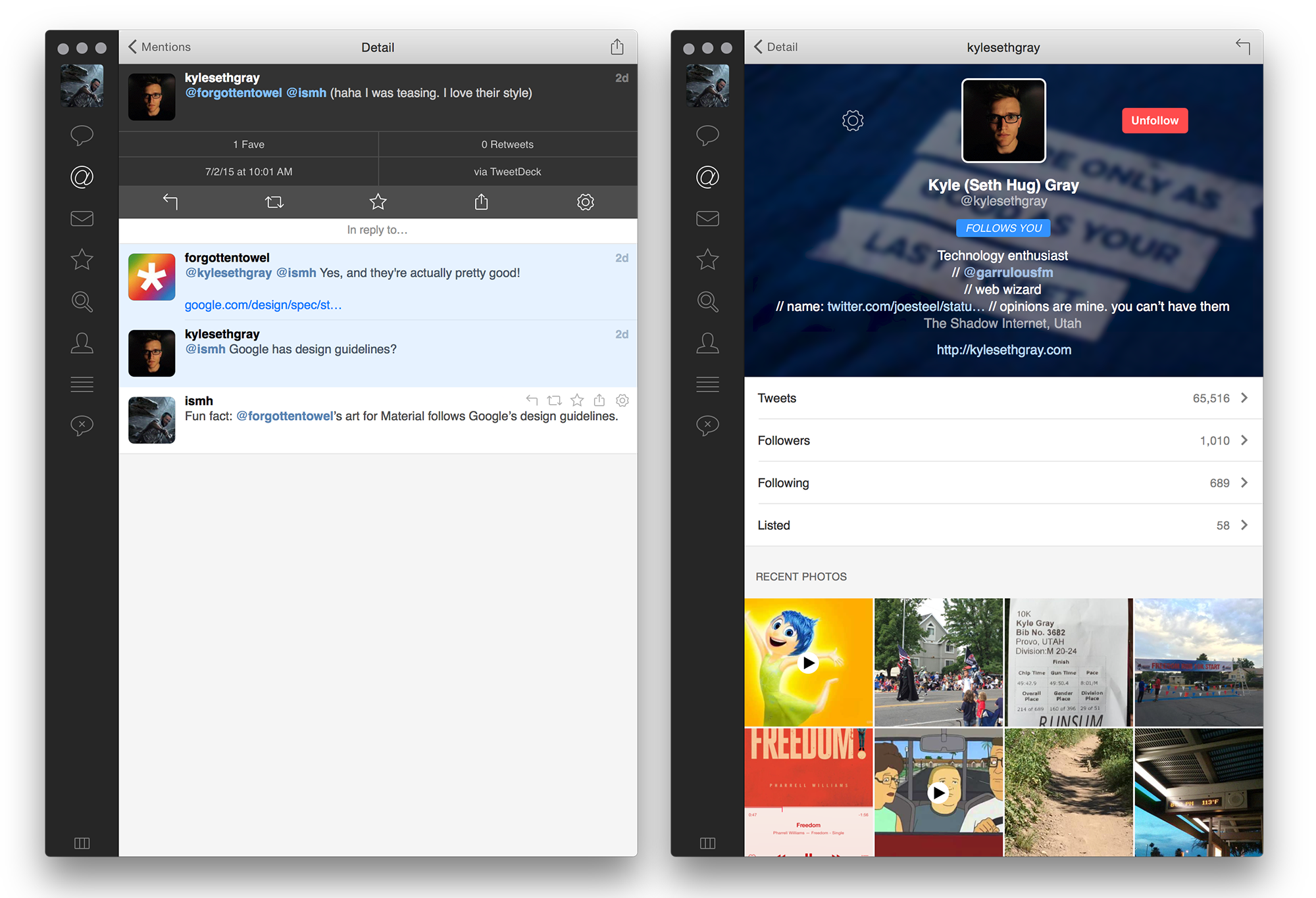Conversations and profiles in Tweetbot 2