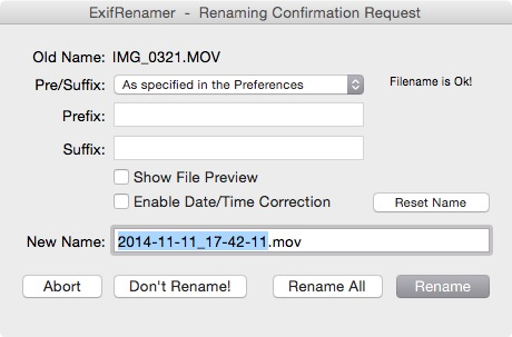 EXIF data in ExifRenamer