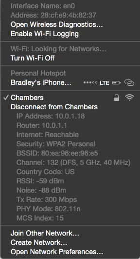 Advanced Wi-Fi menu