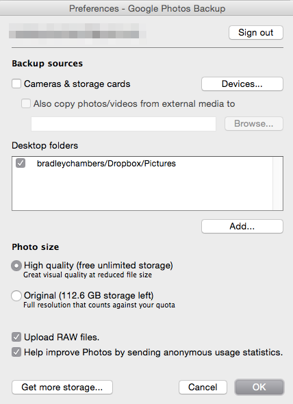 Google Photos preferences