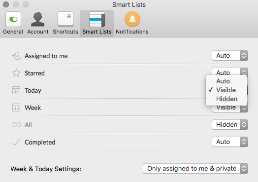 Smart Lists settings