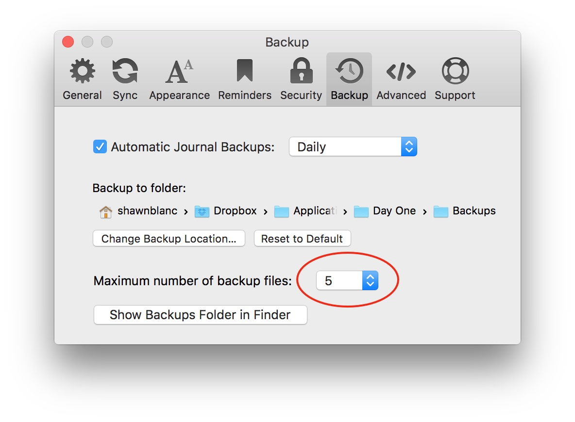 day-one-backup-settings