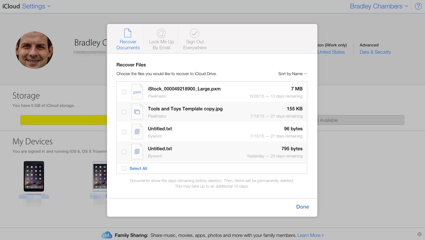 Restore deleted iCloud documents