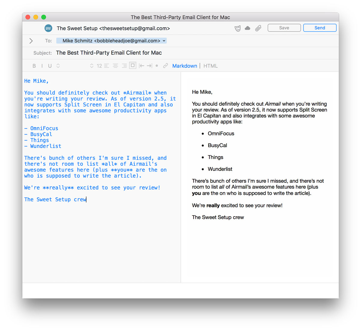 Airmail Markdown view