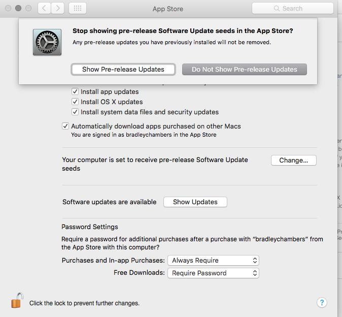 OS X public beta program settings