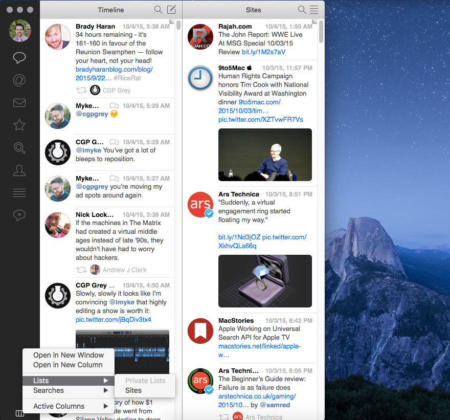 Tweetbot lists in separate panel