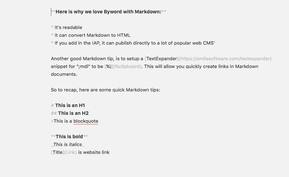 Raw Markdown in Byword
