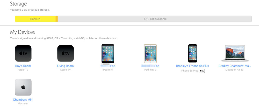 Devices in iCloud on iCloud
