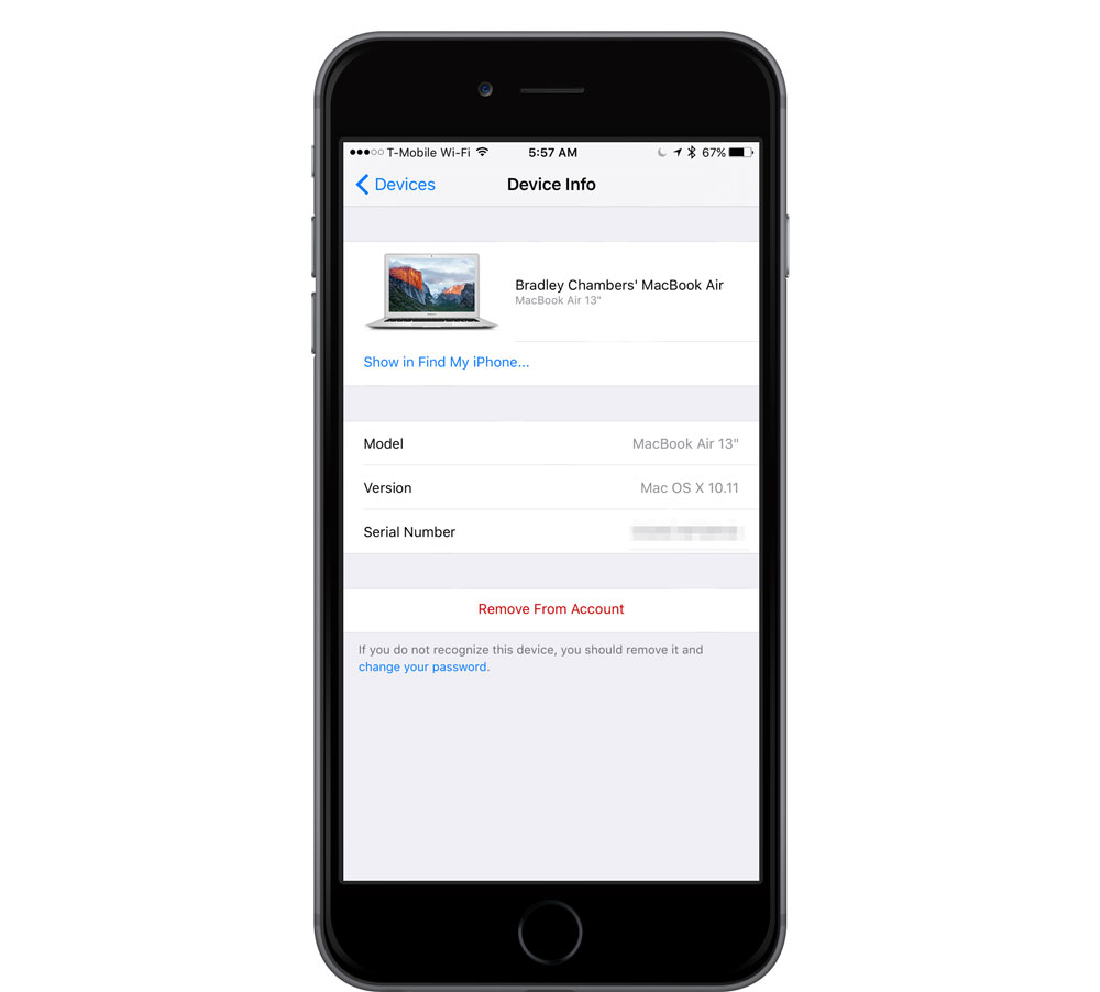 Devices in iCloud from iOS