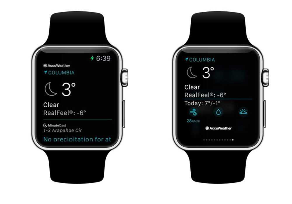 Screenshot of AccuWeather Platinum Apple Watch App