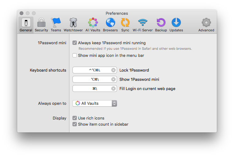 1Password Settings
