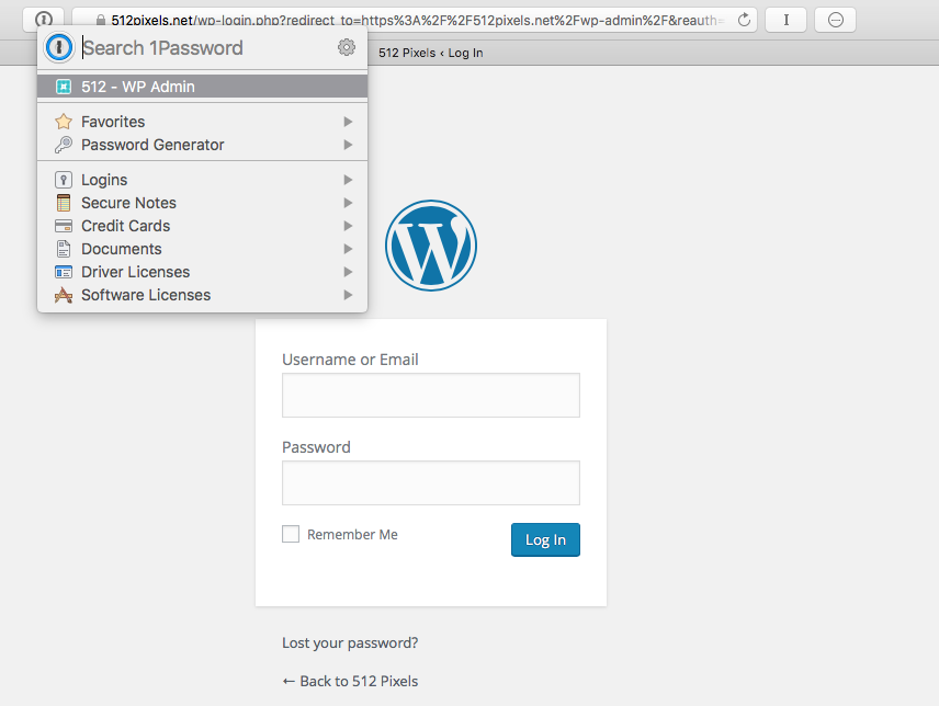 Use 1Password to Log in to websites