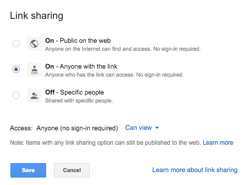 Sharing options in Google Docs