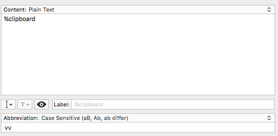 TextExpander snippet for plain-text paste