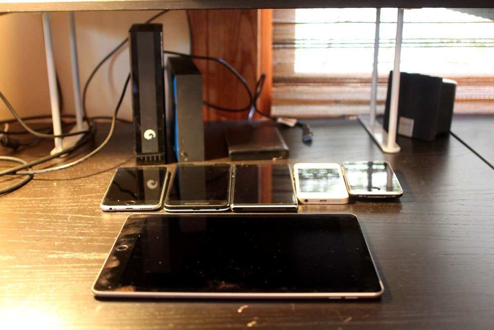 Tim Bornholdt's desk and devices