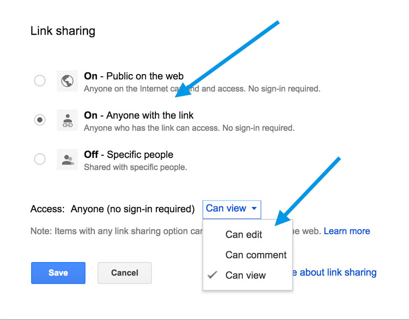 Google Docs permission settings