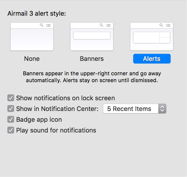 Notification Center settings for Airmail