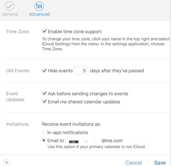 iCloud calendar settings