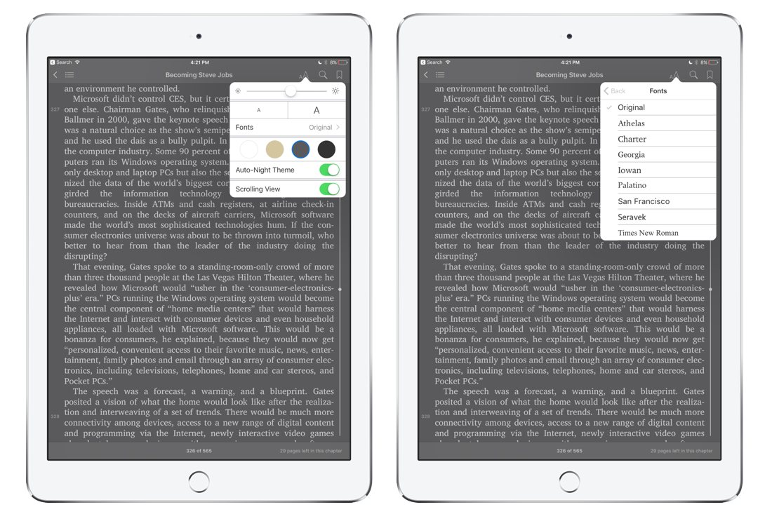 Appearance Settings In Ibooks