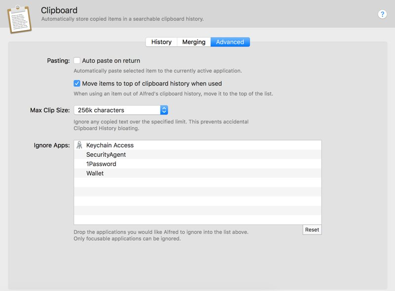 Alfred Advanced settings for clipboard manager