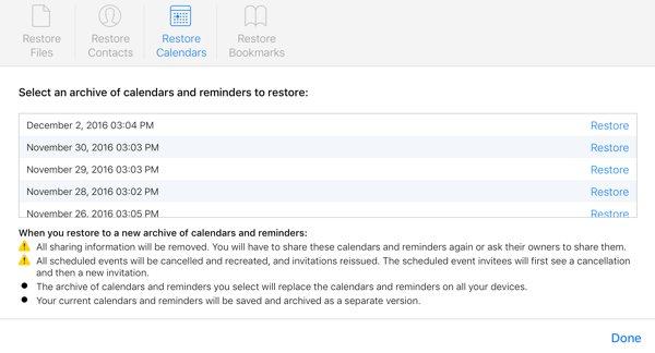iCloud Restore Calendars
