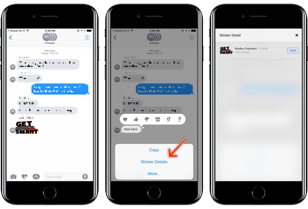View sticker details in iOS Messages