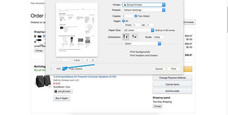 Storing receipts on Mac