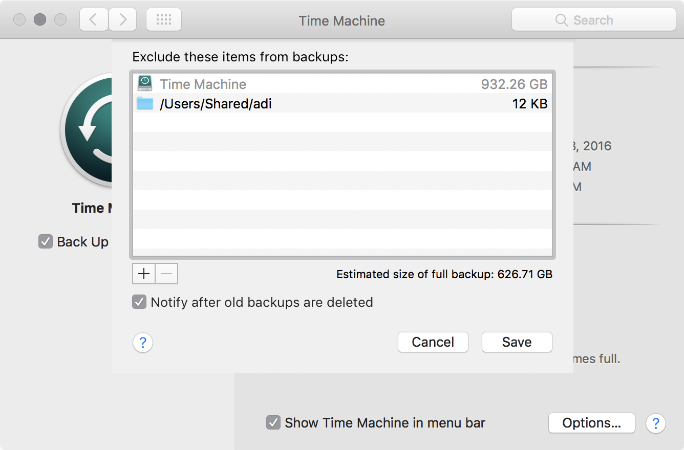 Time Machine - menu bar icon