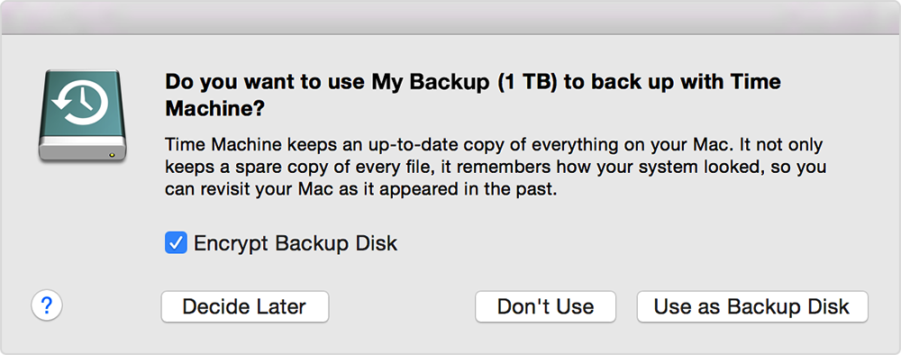 Time Machine — New drive dialog