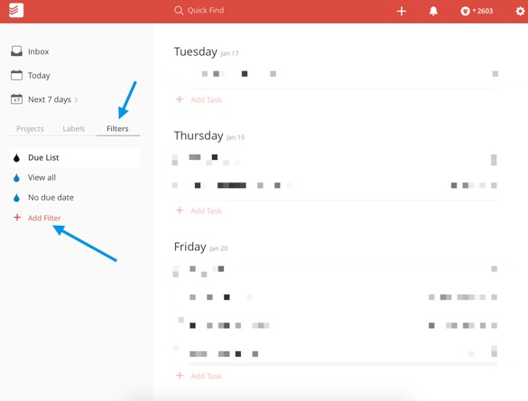 Todoist custom filter step 1