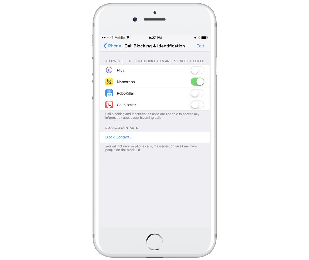 Call Blocking settings in iOS