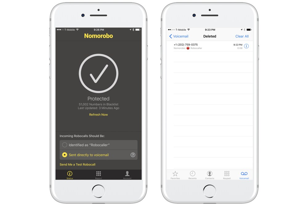 Nomorobo voicemail and database settings