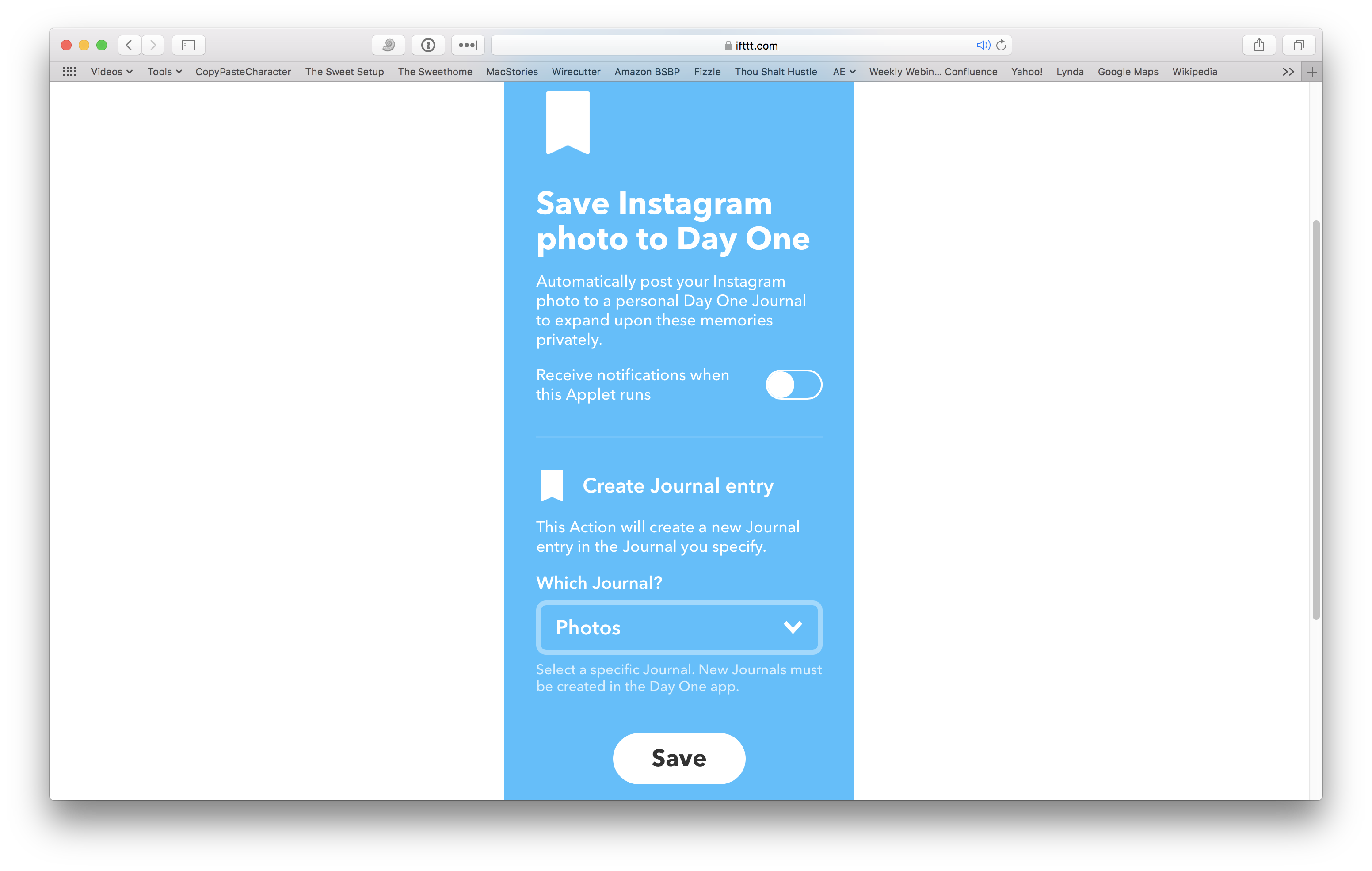 Use Day One and IFTTT to automatically create journal entries