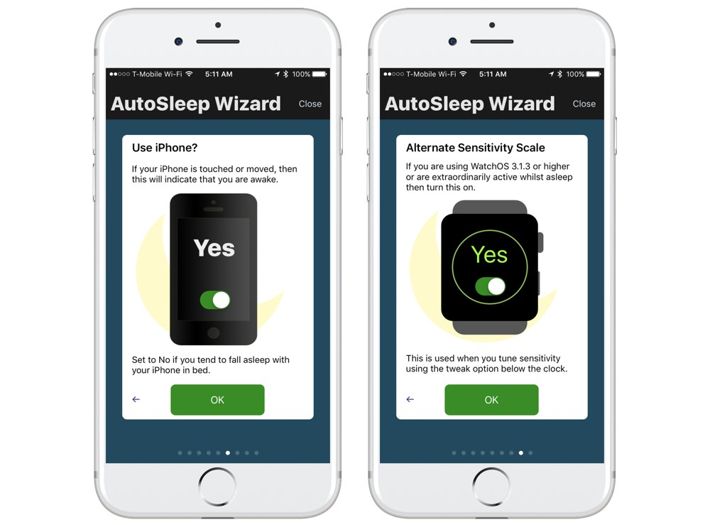 AutoSleep setup screens
