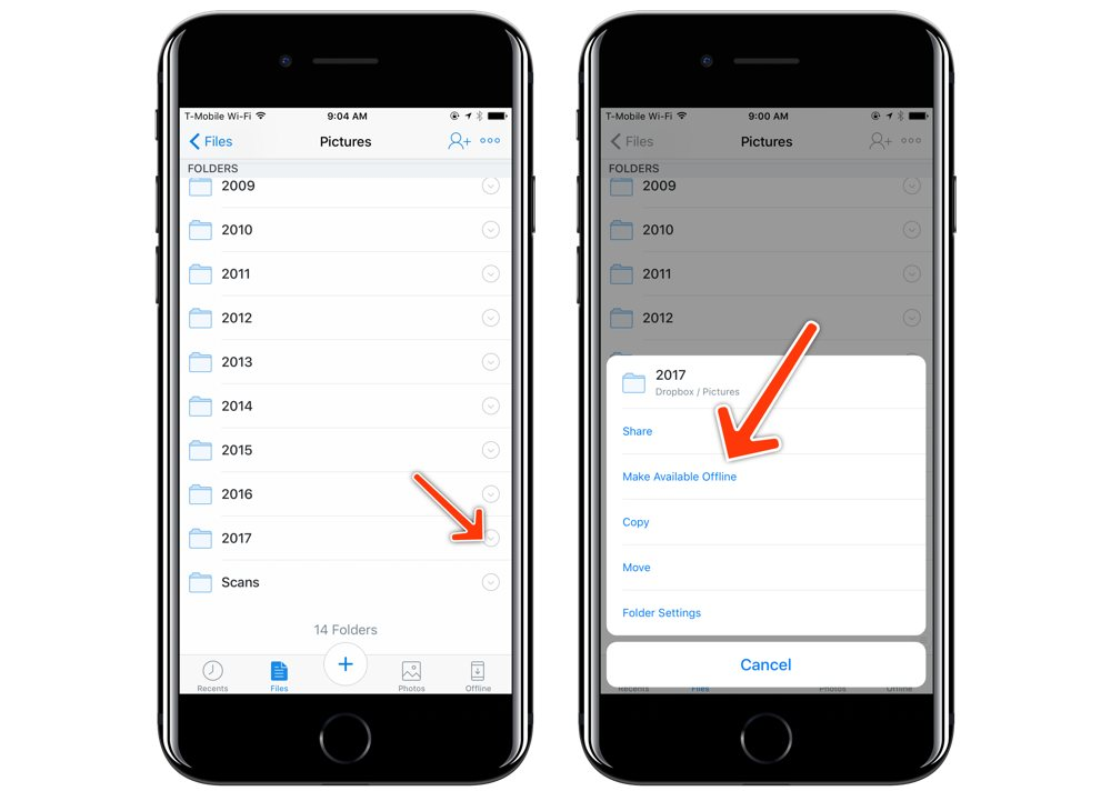 Dropbox iOS make folders available offline