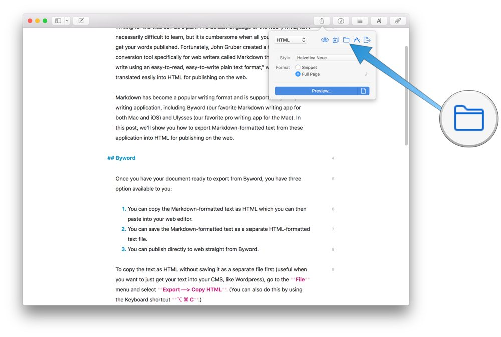if you want to publish straight to medium or wordpress the two services ulysses supports click the text format drop down menu and select publishing