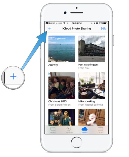 Setting up a shared iCloud photo album