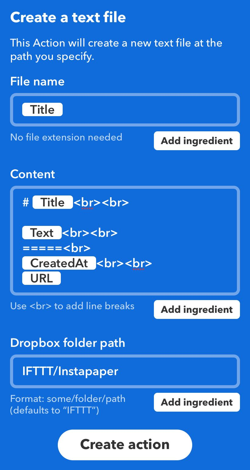 IFTTT recipe for sending Instapaper highlights to a new file in a Dropbox folder