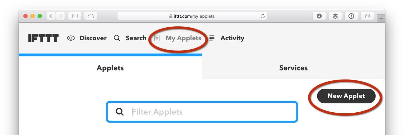 creating a new applet in IFTTT