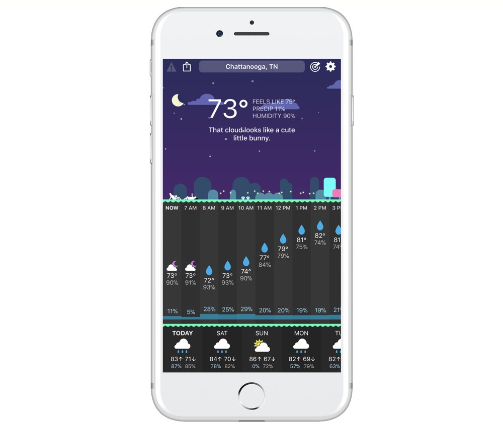 The Best Weather App: CARROT Weather main screen