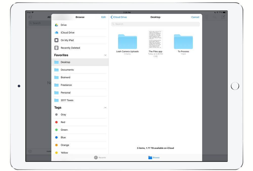iOS 11 Files - emailing