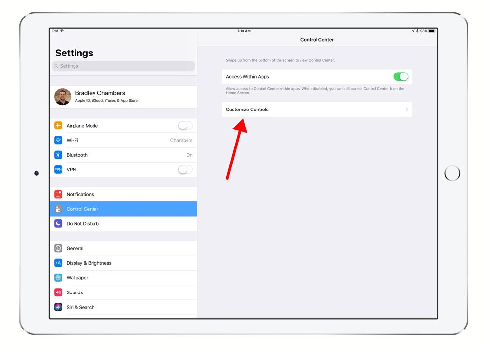 iPad Control Center settings