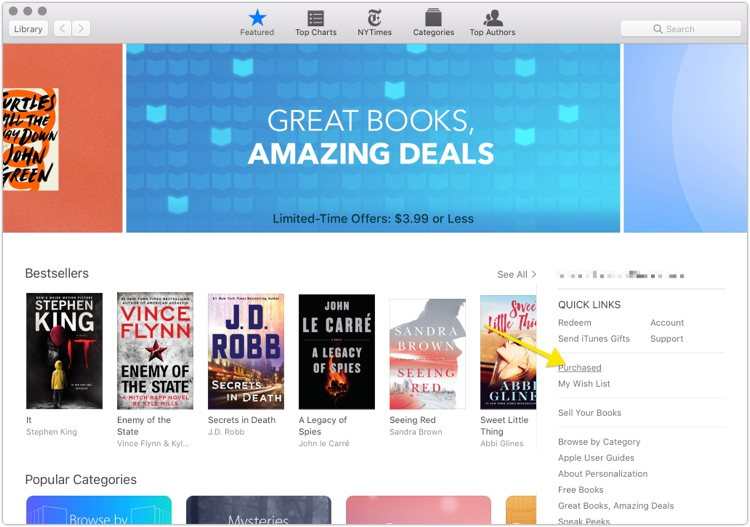 iBooks Purchased menu