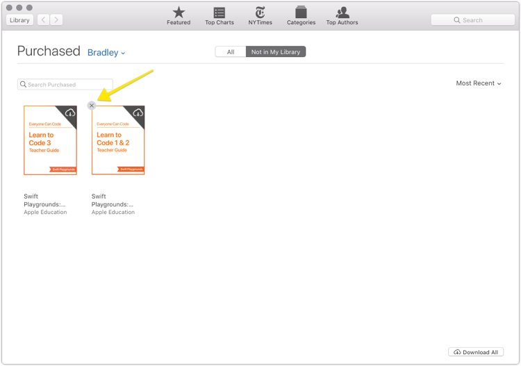 iBooks - removing an item