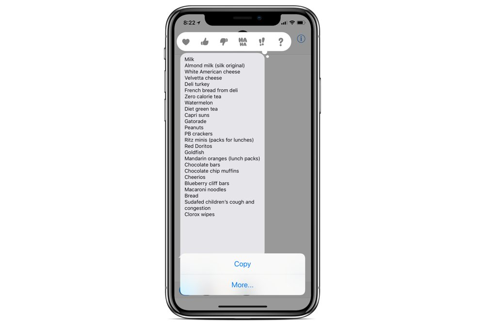 Converting a message into a list in Apple Notes 02