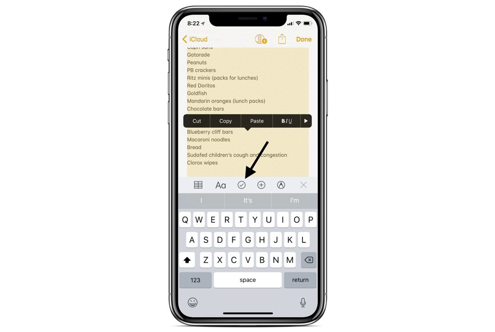 Converting a message into a list in Apple Notes 03
