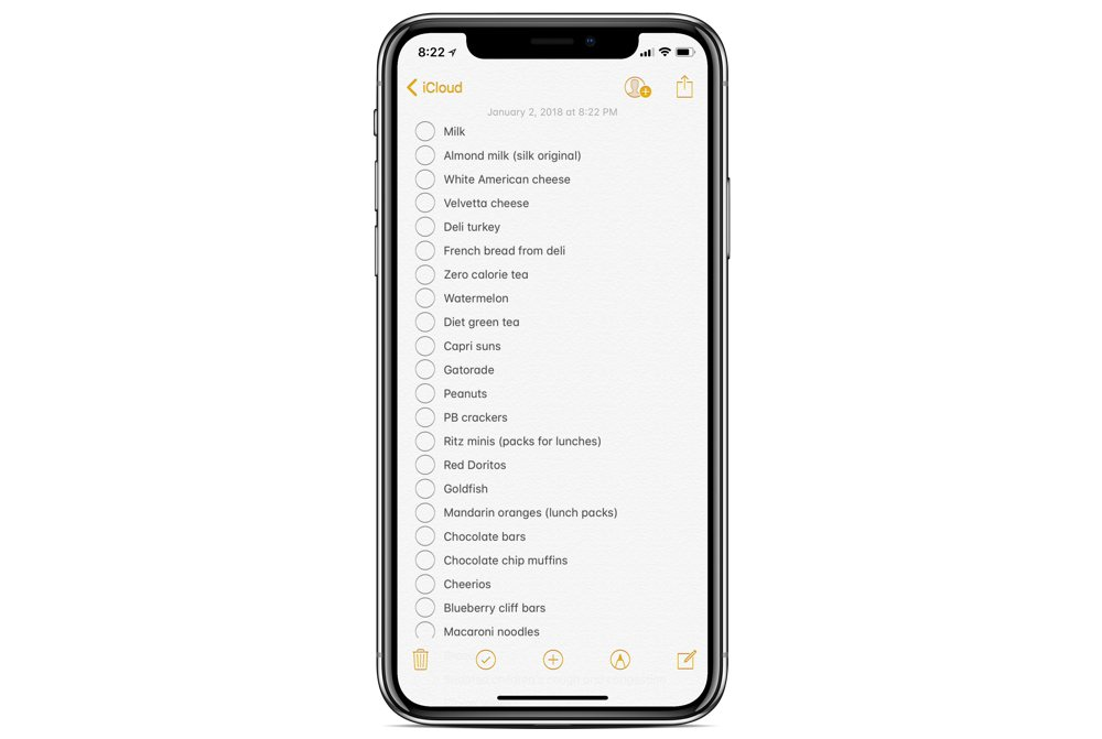 Converting a message into a list in Apple Notes 04